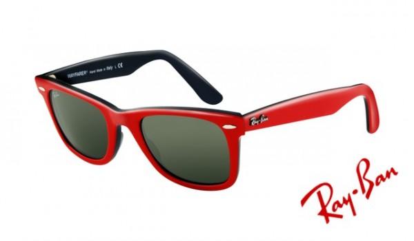 Knockoff Ray Ban RB2140 Wayfarer Sunglasses Top Red Frame Crystal Green